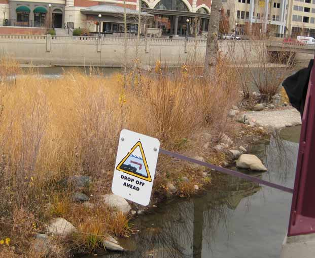 The Truckee River runs unobstructed through downtown Reno.